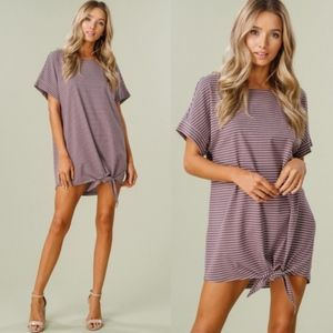 Striped Tie Detail Tunic Top/Dress - MAUVE